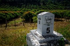 Milestone. ChiangMai, Thailand. December, 03-2017: Milestone was located in front of agricultural farm on top of mountain Royalty Free Stock Photography