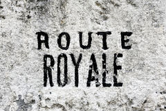 Milestone dating from the French monarchy. At the time this coast road to the Col des Cevennes Saint-Pierre between the Gard and Lozere is a royal road Royalty Free Stock Photography