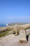 Milestone on Dorset coastal path Stock Photo
