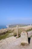Milestone on Dorset coastal path Stock Photo