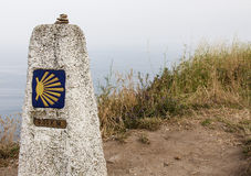 Milestone at Finisterre the end of the Way. Camino de Santiago Stock Photography