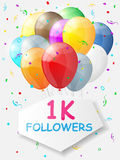 Milestone 1000 Followers. Background with balloons. Vector illustration Royalty Free Stock Images