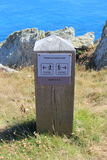 Milestone on hiking trail. In Brittany Stock Images