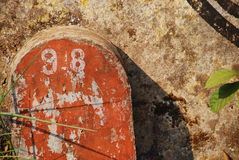 Milestone. Mile stone, forgotten,abstract, colors, shadows, leaves Stock Image