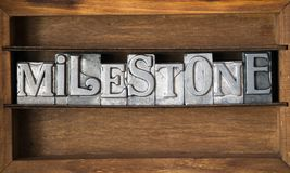 Milestone. Word made from metallic letterpress type on wooden tray Royalty Free Stock Photos