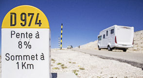 Milestone, Mout Ventoux with auto camper. Milestone at Mount ventoux, with motor home . Provence Royalty Free Stock Image