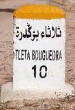 Milestone, Safi, Morocco. Milestone indicating 10 kilometres to Tleta Bouguedra near the historical port of Safi, Morocco Royalty Free Stock Photo