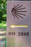 Milestone or signpost. Santiago de Compostella, jakobs way jacobs way Royalty Free Stock Images