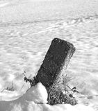 Milestone with snow. Landscape of a snow-covered hill with milestone, black and white Stock Images