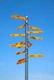 Milestone in the swiss alps Stock Photo