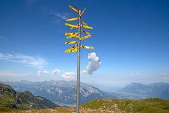 Milestone. In the swiss alps, showing distances to major cities Royalty Free Stock Photos