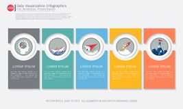 Business Infographic template. Business Infographic template with five steps or options, Communicates data through charts, graphs, Make facts and statistics Stock Photography
