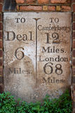 Milestone to London, Canterbury and Deal Royalty Free Stock Photo