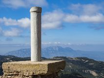 Milestone on the top of a mountain. Milestone at the top of the Montcau peak in the Sant Llorenç del Munt park in the province of Barcelona,  stock photo