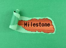 Milestone word. The text Milestone appearing behind ripped green paper on wood Stock Photos