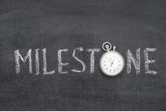 Milestone word watch. Milestone word handwritten on chalkboard with vintage precise stopwatch used instead of O Stock Photography