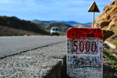 Milestones at Tibet. From Shanghai to Nepal, 318 State Road Royalty Free Stock Photography