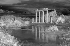 Miletus. Monochrome of the ancient roman ionic stoa of Miletus, built during the reign of the emperor Claudius. In western Turkey royalty free stock photos