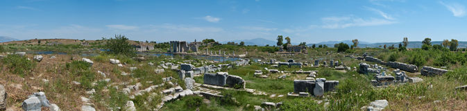 Miletus panorama. Panorama of the ruins of the ancient Greek city of Miletus (nowadays on the territory of Turkey Royalty Free Stock Image