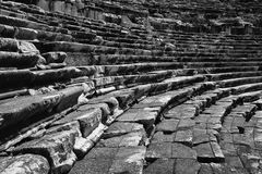 Miletus, Turkish Milet, theatre stairs and seats black and white view in Turkey Stock Image