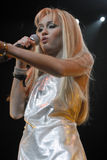 Miley Cyrus performing live. At the Gibson Amphitheatre Stock Photo