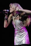 Miley Cyrus performing live. At the Gibson Amphitheatre royalty free stock images
