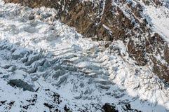 Mountains, travel, nature, beautifull place, icefall,. Miley`s icefall. Genaldonskoye Karmadonskoye gorge. Greater Caucasus Range. North Ossetia. Kazbek royalty free stock photos