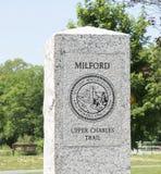 Milford上部查尔斯足迹起点标志 免版税库存图片