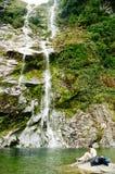milford新的跟踪瀑布西兰 免版税图库摄影