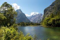 Milford-Bahn, malerische Landschaft, Neuseeland Lizenzfreie Stockfotografie
