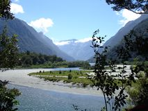Milford River. On the last day of the Milford Track, the trail follows the Milford River to the Sound Stock Images