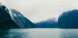 Milford Sound薄雾 库存图片