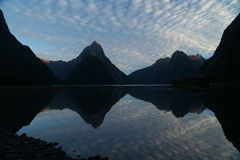 Milford Sound. Sunrise at Milford Sound in New Zealand royalty free stock image