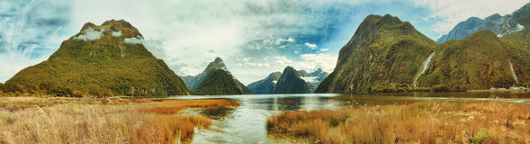 Milford sound. Panorama of the Milford Sound Stock Photos