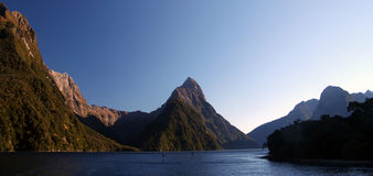 Milford Sound. Sunrise at Milford Sound in New Zealand Royalty Free Stock Photo
