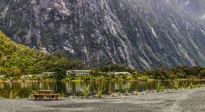 Milford Sound accomodation. Mitre Peak Lodge at Milford Sound on the South Island of New Zealand royalty free stock images