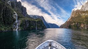 Scenic tourist attraction of Milford Sound cruise, New Zealand royalty free stock images