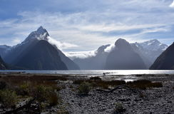 Milford Sound durante la bajamar Fotos de archivo libres de regalías