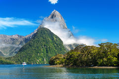 Milford Sound. Famous Mitre Peak rising from the Milford Sound fiord. Fiordland national park, New Zealand Royalty Free Stock Photos