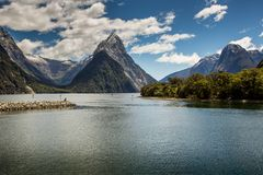 Milford Sound, Fiordland, New Zealand. Stock Photos