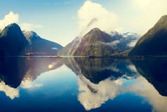 Milford Sound Fiordland New Zealand Rural Nature Concept Royalty Free Stock Images