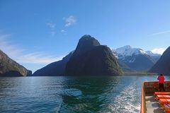 Milford Sound with Harrison Cove, New Zealand stock photography