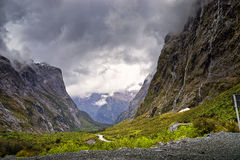Milford Sound Hwy, Mountains and Waterfalls Stock Image