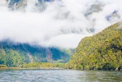 Milford Sound i den Fjordland nationalparken Fotografering för Bildbyråer