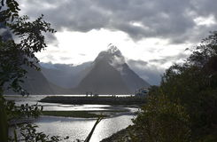 Milford Sound at low tide in winter sunset Royalty Free Stock Image