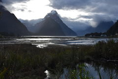 Milford Sound at low tide in winter sunset Royalty Free Stock Photos