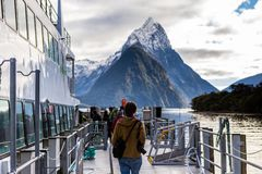 Milford Sound Mountain Boat Cruise Tour stock image