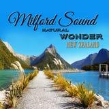 New Zealand, Travel Poster, Fiordland, Milford Sound Royalty Free Stock Image