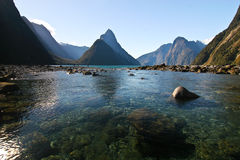 Milford Sound New Zealand. The Milford Sound in New Zealand with the Mitre Peak in the background Royalty Free Stock Photo