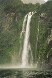 Milford Sound, New Zealand. The waterfalls as seen from the Milford Sound cruise, New Zealand Stock Images